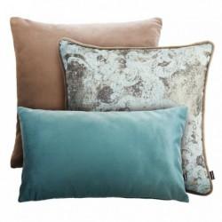 VELVET+GOLD beżowo-miętowy zestaw poduszek dekoracyjnych