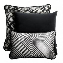 GLAM srebrno-czarny zestaw poduszek dekoracyjnych