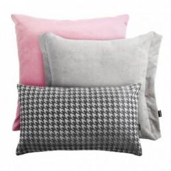 VELVET+PEPITKA+PEPPER różowo-szary zestaw poduszek dekoracyjnych