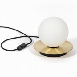 BORRA ST nowoczesna lampa na stolik z mosiężnym dyskiem polski design
