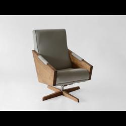 ENI OBROTOWY fotel z litego drewna polski design