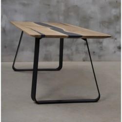 LIBENTER stół drewniany  z żywicą styl industrialny