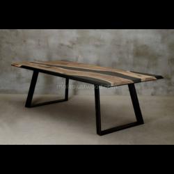 DESIDERO stół drewniany  z żywicą styl industrialny