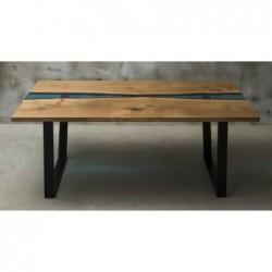 FLUMINE stół drewniany  z żywicą styl industrialny