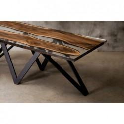 CARMEN stół drewniany  z żywicą styl industrialny