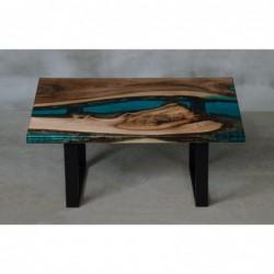 MARE stolik drewniany  z żywicą styl industrialny