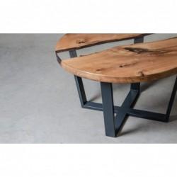 PUELLA stolik drewniany z żywicą styl industrialny