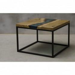 VENTUS stolik drewniany  z żywicą styl industrialny