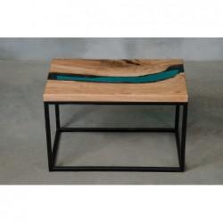 CARUS stolik drewniany z żywicą styl industrialny