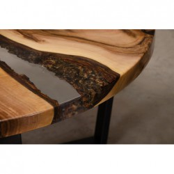 EGREGIUS stolik drewniany z żywicą styl industrialny