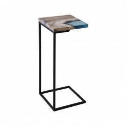 BENE stolik pomocnik drewniany z żywicą styl industrialny
