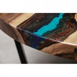 AQUA stolik drewniany z żywicą styl industrialny