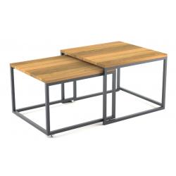 BRICK DREWNO minimalistyczny podwójny stolik kawowy styl loftowy