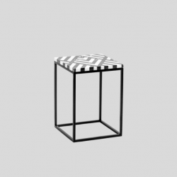 PATTERN FIR/HEART stolik pomocnik z kamiennym blatem polski design