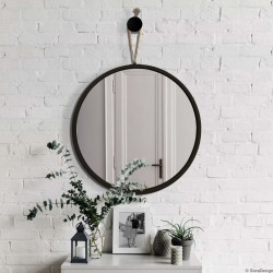 LOOP okrągłe lustro wiszące na sznurku polski design