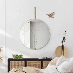 HOKO VINTAGE postarzane lustro wiszące na mosiężnym zawiesiu