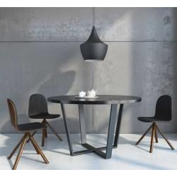 OKRĄGŁY ALL BLACK minimalistyczny stół styl industrialny