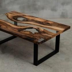 ARS stolik drewniany z żywicą styl industrialny