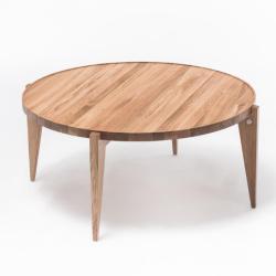 BONTRI 110 okrągły stolik kawowy z litego drewna dębowego