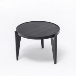BONTRI BLACK okrągły stolik kawowy z litego drewna dębowego