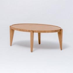 BONTRI ELIPSA owalny stolik kawowy z litego drewna dębowego