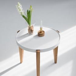 BONTRI KOLOR okrągły stolik kawowy z litego drewna dębowego