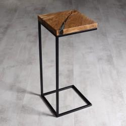 CLARUS stolik pomocnik drewniany z żywicą styl industrialny