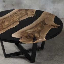DIGNUS stolik drewniany  z żywicą styl industrialny