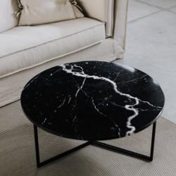 OVAL okrągły stolik kawowy z kamiennym blatem polski design