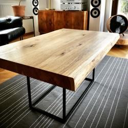 JORMUN stolik z blatem dębowym na centralnej nodze