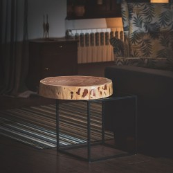 DRASIL stolik z blatem z plastra modrzewiowego na geometrycznej ramie