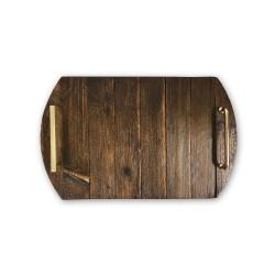WZ.10 drewniana taca do serwowania ze złotymi uchwytami