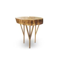 MJOLNIR stolik z plastra dębowego na geometrycznych nogach