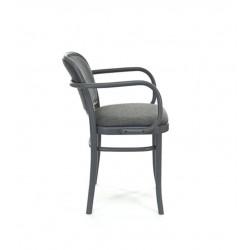 B-811 fotel drewniany z tapicerowanym siedziskiem i oparciem w stylu vintage, polski design