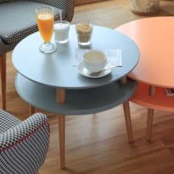 UFO średni stolik kawowy w stylu vintage polski design
