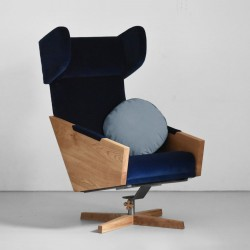 LIU SVIWEL duży obrotowy fotel uszak, polski design