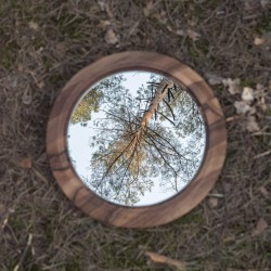 DYSK 1 okrągłe lustro z litego drewna