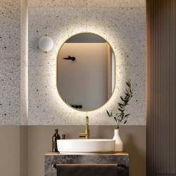 AMBIENT SLIM ZŁOTE owalne lustro podświetlane LED