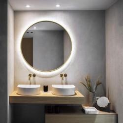 SCANDI SLIM GOLD okrągłe lustro podświetlane LED