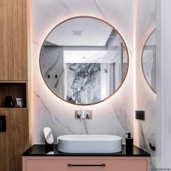 SCANDI SLIM MIEDZIANE okrągłe lustro podświetlane LED