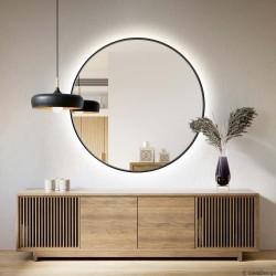 SCANDI SLIM CZARNE okrągłe lustro podświetlane LED