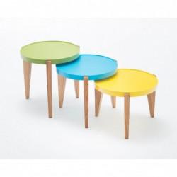 BONTRI ZIELONY okrągły stolik kawowy z litego drewna dębowego