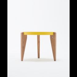 BONTRI ŻÓŁTY okrągły stolik kawowy z litego drewna dębowego