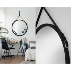 SCANDI BELT okrągłe lustro na skórzanym pasku polski design