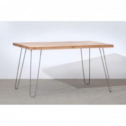 HAIRPIN stół z blatem z litego drewna dębowego styl loftowy