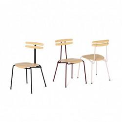 TROJKA metalowe krzesło z siedziskiem ze sklejki, styl vintage