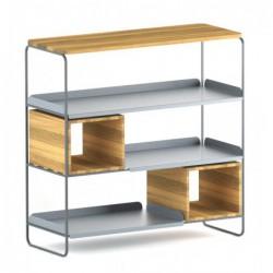MODULO REGAŁ 99x100 minimalistyczny regał stalowo-drewniany polski design