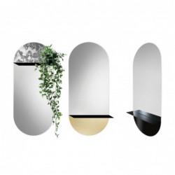 NOVI ANTIQUE z metalową półką owalne lustro w stylu bauhaus