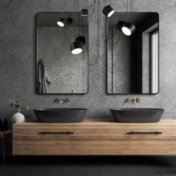 BILLET czarne lustro z zaokrąglonymi rogami w stylu skandynawskim