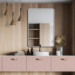 BILLET białe lustro z zaokrąglonymi rogami w stylu skandynawskim
